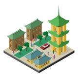 Isometrische cityscape in cultuur de Oost- van Azië Pagode, gebouwen, bomen, auto en mensen royalty-vrije illustratie