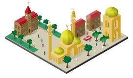 Isometrische cityscape in oosterse stijl Moskee met minaretten, stedelijke gebouwen, bomen, banken, auto en mensen stock illustratie