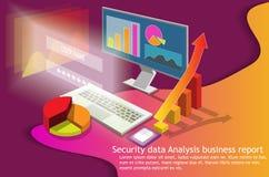 Isometrische computor van de bedrijfs 3d gegevensanalyse vector illustratie