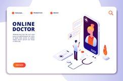 Isometrische concept van de gezondheidszorg het online apotheek Internet-drogisterij Medische diagnose in het ziekenhuis Artsen o royalty-vrije illustratie