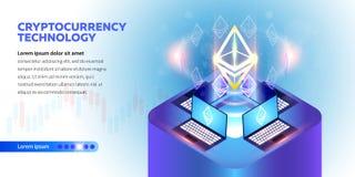 Isometrische Cryptocurrency-banner Royalty-vrije Stock Afbeeldingen