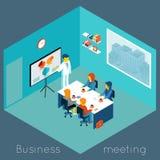 Isometrische 3d commerciële vergadering royalty-vrije illustratie