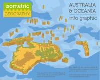 Isometrische 3d fysieke de kaartelementen van Australië en van Oceanië bouw Royalty-vrije Stock Foto's