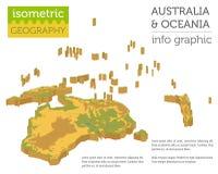 Isometrische 3d fysieke de kaartelementen van Australië en van Oceanië bouw Stock Foto