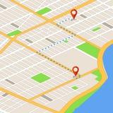 Isometrische 3d kaart met plaatsspelden Gps navigatie vectorachtergrond Stock Fotografie