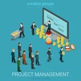Isometrische 3d projectleidings van het bedrijfsmuntstukgeld vlak Stock Foto's