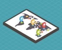 Isometrische 3d vectorkaart Stock Afbeelding