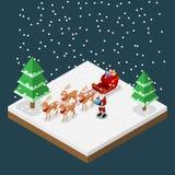 Isometrische 3d Weihnachtsmann holen ein Geschenk mit seinen sechs Renen und Pferdeschlitten im Weihnachtsmotiv, flaches Vektorde Lizenzfreie Stockfotografie