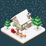 Isometrische 3d Weihnachtsmann holen ein Geschenk, um durch seine sechs Rene und Pferdeschlitten im Weihnachtsmotiv, flaches Vekt Lizenzfreies Stockbild