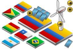 Isometrische Darstellung der Solar- und Windenergie lizenzfreie abbildung