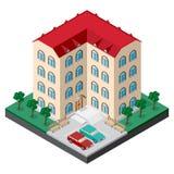 Isometrische de bouwbinnenplaats met meerdere verdiepingen vector illustratie