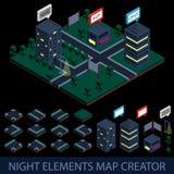 Isometrische de kaartschepper van nachtelementen Stock Foto's