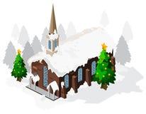 Isometrische de Kerk van Kerstmis Stock Afbeeldingen