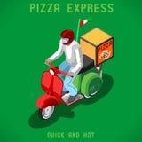 Isometrische de Mensen van de pizzalevering Royalty-vrije Stock Afbeelding