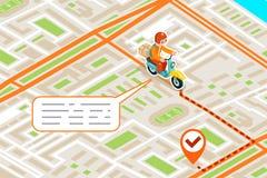 Isometrische der Lieferungsstadtstraßen-Straßenkarte städtische Design-Vektorillustration der Platzmarksteinstadt 3d flache Lizenzfreie Stockbilder