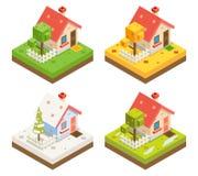 Isometrische des Haus-3d Hintergrund-Design-Vektor-Illustration Ikonen-Real Estate-Symbol-Wiesen-der Jahreszeit-3d isometrische Stockfotografie