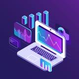 Isometrische Diagramme 3d der Geldmarktanalyse auf Geschäftslaptop Analytischer Bericht mit infographic Datendiagrammvektor Lizenzfreie Stockfotos