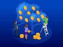 Isometrische die boom van geld, een symbool wordt gemaakt van succesvolle zaken op de blauwe achtergrond Een commercieel team ver vector illustratie