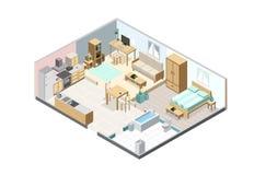 Isometrische die flat op witte achtergrond wordt geïsoleerd Keuken, bedro royalty-vrije illustratie