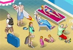 Isometrische die Toeristenvolkeren bij Toevlucht worden geplaatst stock illustratie