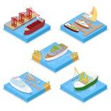 Isometrische die Watervervoer met Cruise en Industrieel Schip wordt geplaatst Het varen en het Verschepen vector illustratie