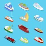 Isometrische die Watervervoer met Cruise en Industrieel Schip wordt geplaatst Het varen en het Verschepen royalty-vrije illustratie