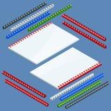Isometrische Document bindende componenten en de lentes voor het vastmaken van catalogi, de plastic lentes voor het binden Vector vector illustratie
