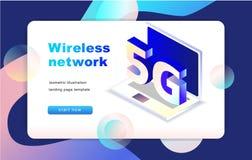 Isometrische draadloze het netwerk vectorillustratie van 5G Eps 10 stock illustratie