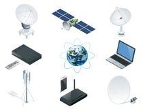 Isometrische Draadloze Technologie en de Globale van communicatie satelliet pictogrammentorens vector illustratie