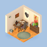 Isometrische eenvoudige werkende ruimte Stock Foto