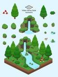 Isometrische einfache Felsen eingestellt - Koniferen-Forest Rock Formation Stockbild