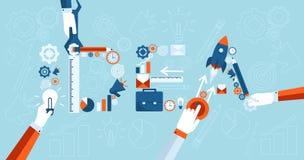 Isometrische Entwicklung von Geschäftsideen Start der Prozess der Schaffung der modischen flachen Art der Geschäftsikonen Lizenzfreies Stockfoto