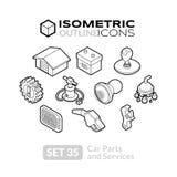 Isometrische Entwurfsikonen stellten 35 ein Lizenzfreie Stockfotos