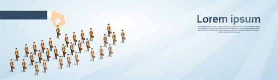 Isometrische Fahne Einstellungs-Handsammeln-Geschäfts-Person Candidate People Group Copy-Raum-3d Stockfotos