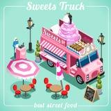 Isometrische Fahrzeuge der Lebensmittel-LKW-Süßigkeits-3D Stockfotos