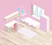 Isometrische flache 3D Innenmädchen im Schnitt alle zacken Schlafzimmerinnenraum aus Stockbild