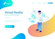 Isometrische flache Gläser VR-Sturzhelm virtueller Realität V stock abbildung