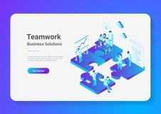Isometrische flache Vektor Teamwork-Leute-Puzzlespielteile lizenzfreie abbildung