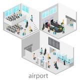 Isometrische Flughafenszenen stock abbildung