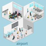 Isometrische Flughafenszenen vektor abbildung
