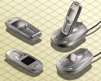 Isometrische Foto - de Draadloze radio van de Telefoon Royalty-vrije Stock Foto's