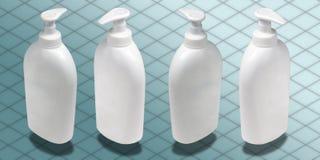 Isometrische Fotographie - flüssige weiße Seifen-Flasche ist Stockfotos