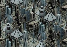 Isometrische futuristische Sciencefictionsarchitektur, Stadt der Zukunft Wiedergabe 3d Stockfotografie