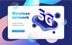 Isometrische 5G-netwerkillustratie Landend Paginamalplaatje Vector Eps 10 stock illustratie