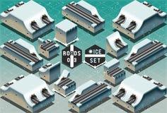 Isometrische Galerie-Tunnels auf gefrorenem Gelände Stockfoto