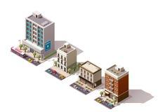 Isometrische Gebäude des Vektors eingestellt Stockbild