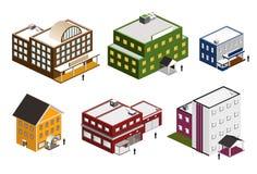Isometrische Gebäudeansammlung Stockfoto