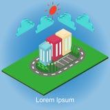 Isometrische Gebäudestadt und -element Stockbild