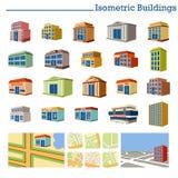 Isometrische Gebouwen en kaarten Stock Afbeelding