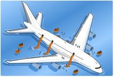 Isometrische gegraven vliegtuigneerstorting, vector illustratie